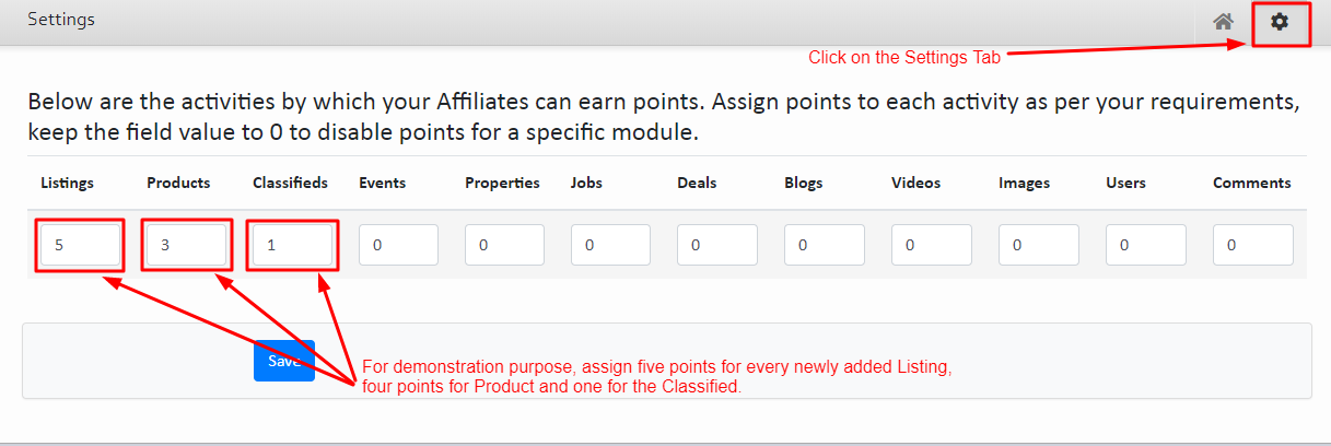 Settings Affiliate Points
