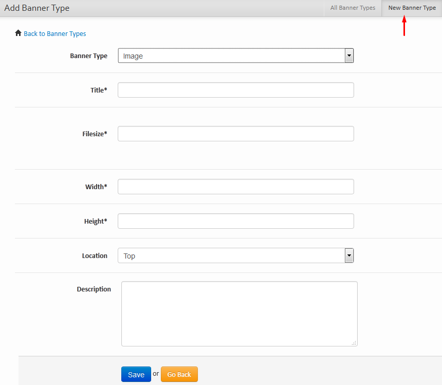 Banner Types Form