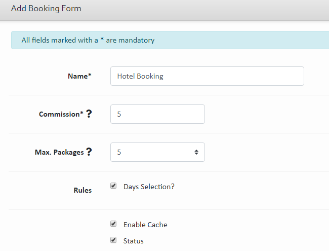 Booking Form Fields